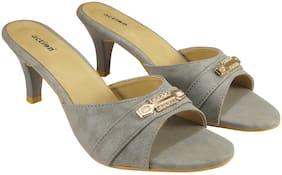 Action Synergy Women's Metallic Party Glitter Light Grey High Heels Signora3