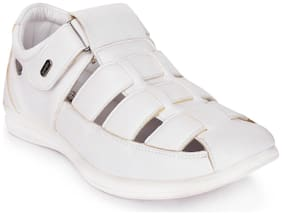 Action White Synthetic Leather Sandals