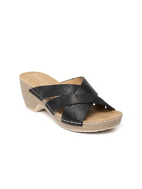 Addons Women Pu Slip on Wedges - Eu 39 , Black