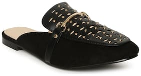 Addons Golden Studded and Buckle detailed Closed toe Mule