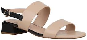 Addons Women Beige Heeled Sandals