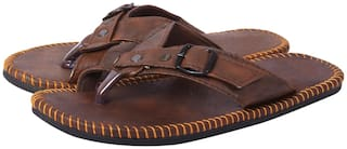Aishwary Glams Men Brown Synthetic Leather Slippers