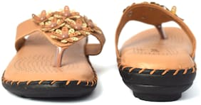 AISHWARY GLAMS Women Tan Slippers
