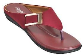 Ajanta Women's Classy Sandal Slippers - Cherry