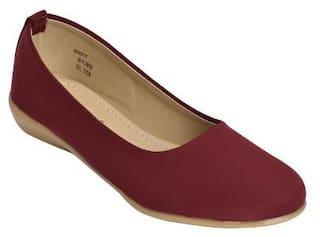Ajanta Women Maroon Slip-On Shoes