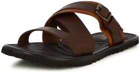 Alberto Torresi Sandrin Men's Brown Buckled Strap Slippers