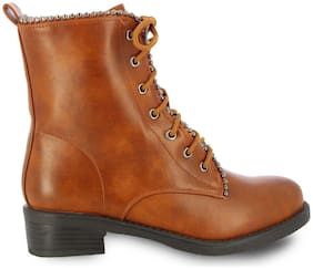 Women Ankle Length Boots ( Tan )