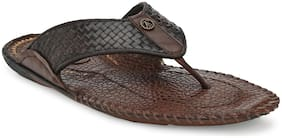 Alberto Torresi Double Brown synthetic leather slippers for men
