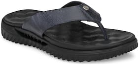 Alberto Torresi Men's Leather Slippers In NAVY With Thick Sole