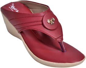 Alert India Footwear Women Maroon Wedges -