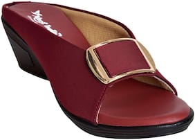 Alert India Footwear Women Fabric T-strap - Uk 8 , Maroon