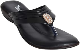 Alert India Footwear Women Black T-Strap Flats