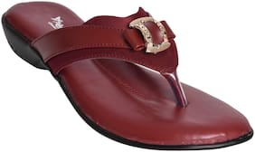 Alert India Footwear Women Maroon T-Strap Flats
