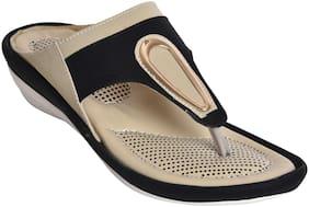 Alert India Footwear Women Fabric T-strap - Uk 6 , Black