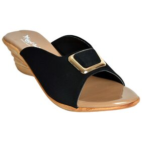 ALERT INDIA FOOTWEAR Synthetic Made PVC Sole N/A Flat Sandal For Women-Black