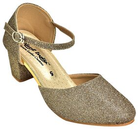 Alert India Canvas Made Heels For Women's-Golden