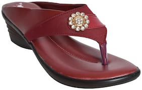 Alert India Textile MadeWedges For Women's-Maroon