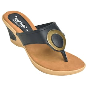 Alert India Synthetic Leather MadeWedges For Women's-Black