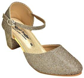 Alert India Canvas Made Heels For Women's-Golden