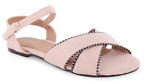 Ceriz Alethea Beige Stripped Piping Sandals