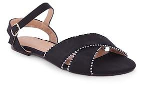 Ceriz Alethea Black Stripped Piping Sandals