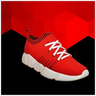 Allen Cooper Red Color Light Weight Breathable Walking Shoes For Men