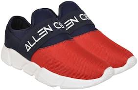 Allen Cooper Navy Red Slip-on Running Shoes For Men