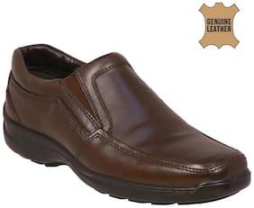 Allen Cooper Brown Genuine Leather Slipon Formal Shoes