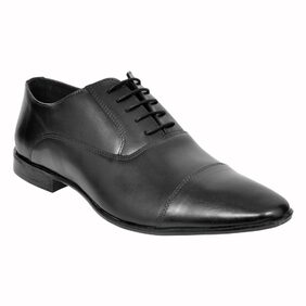 Allen Cooper Black Leather Formal Shoes For Men