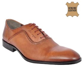 ALLEN COOPER Oxford Bunished Brown Effect Pure Leather Formal Shoes For Men