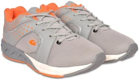 Allen Cooper Grey Orange Sports Running Shoes For Men