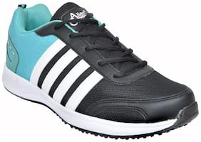 Allen Cooper Black Green Running Shoes for Men
