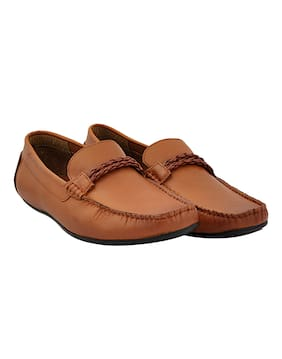 Allen Cooper Tan Genuine Premium Leather Moccasins For Men