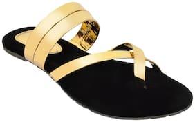 Altek Stylish Crossed Gold Flats for Women