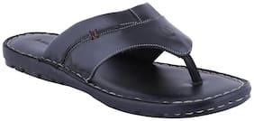 Amster Men Black Genuine Leather Slippers