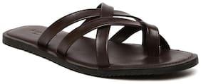 Amster Mens Brown Geniune Leather Comfort Slippers