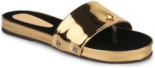 Appett Women Gold Slipper::Appett-00206GOLDON/BLACK