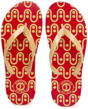 Appitite Women Rubber Printed Flip Flops Red