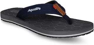Aqualite Men's Dark Grey Slippers & Flip-Flops (GV-166)