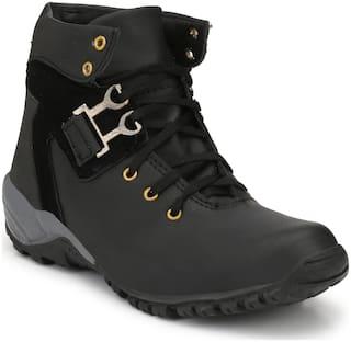 A R GOLD Men's Black Ankle Boots