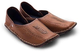 Ar Men Rajasthani Ethnic Juti Tan Leather Mojari Shoe 201 - 6