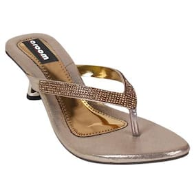 Aroom Women's Golden Heel Sandal