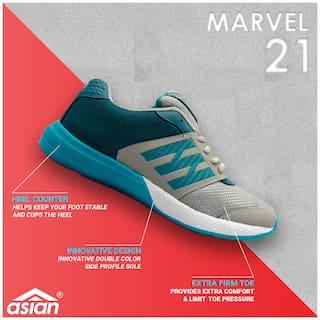Asian Marvel-21 Grey Green Running Shoes For Men
