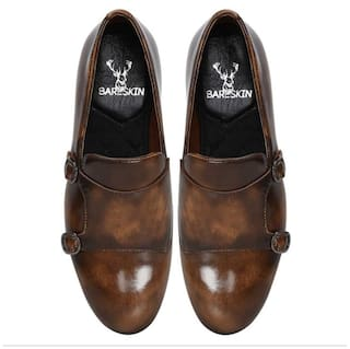 13f3e7533983 Buy Bareskin tan brown dual shade leather double monk strap shoes ...