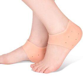 Baskety Silicone Gel Heel Sleeve Plantar Fasciitis Heel Cushion Foot Sleeve Protective Heel Socks One Pair (skin)  1 pair
