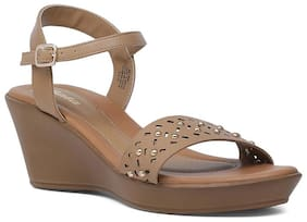 Bata Women Beige Heeled Sandals