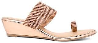 Bata Women Gold Wedges