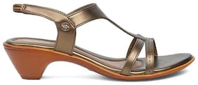 Bata Women Gold Heeled Sandals