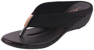 Bata Women's Black Wedge Slippers