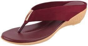 Bata Women's Maroon Wedge Slippers